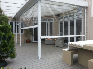 All these clear deck curtains close to deck level, creating an outdoor room for entertaining