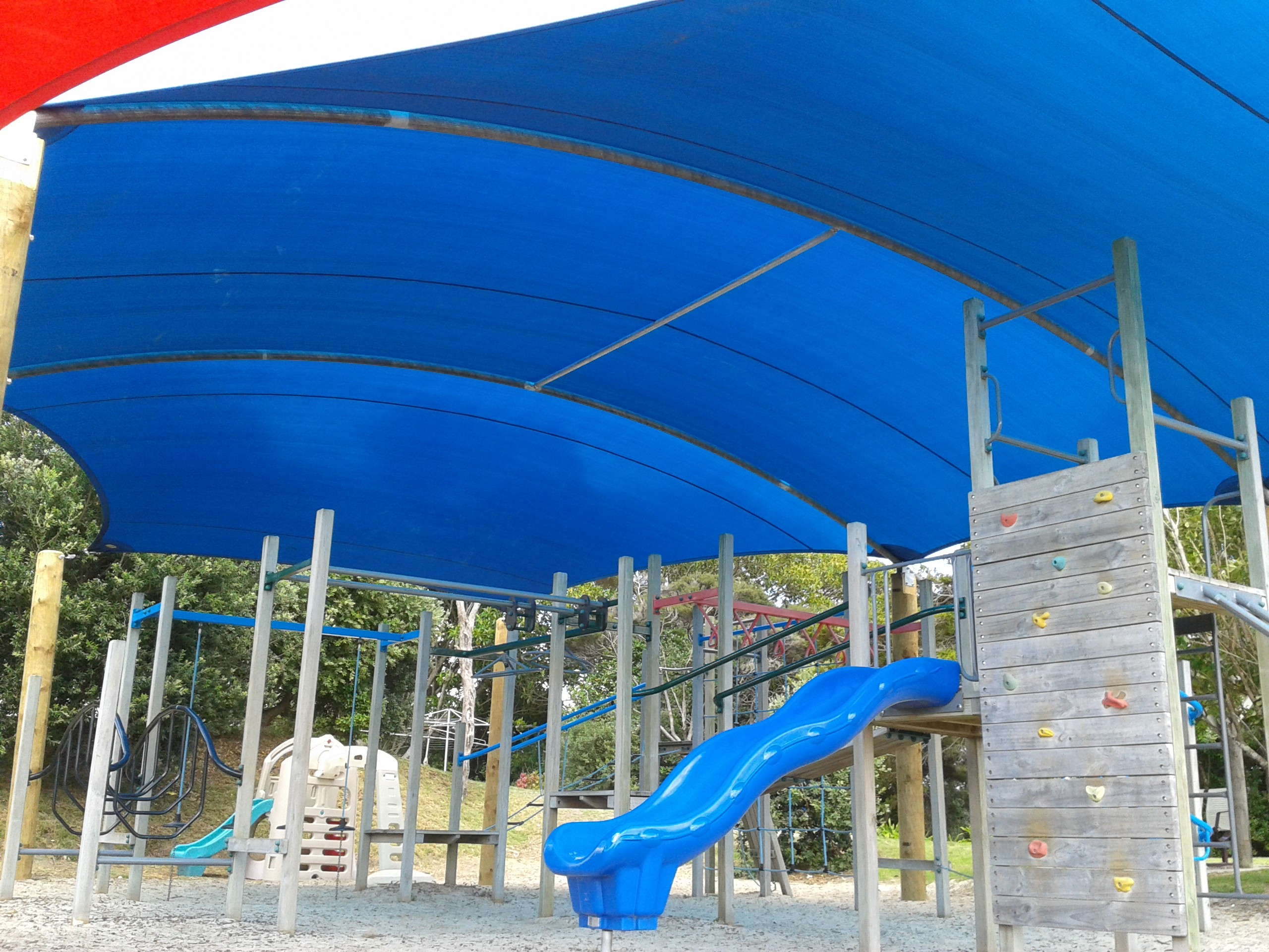 Shade Sail over a frame at a playground